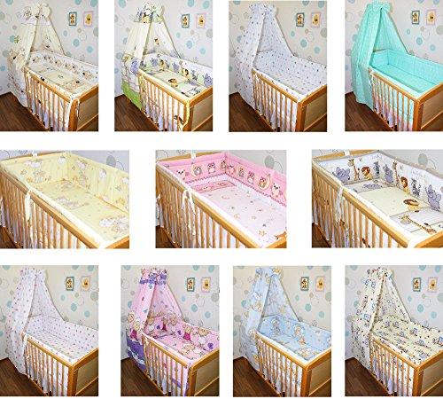 5-6 tlg Baby Bettset mit 420 cm rundum Nestchen Himmel Bettwäsche Nestchen Eule Safari Sterne D5 6 tlg