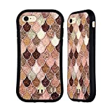 Head Case Designs Rose-Gold Meerjungfrau Waage Muster Hybrid Hülle für iPhone 7 / iPhone 8
