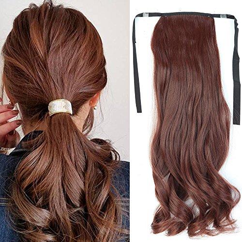Ponytail Clip in Pferdeschwanz Extension Haarteil Haarverlängerung Zopf Hair Piece gewellt Wavy wie Echthaar -