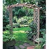 Pérgola de madera clásica arqueada. Elemento decorativo de jardín y soporte para plantas enredaderas - Madera tratada - altura 260 x 180 x 90 cm