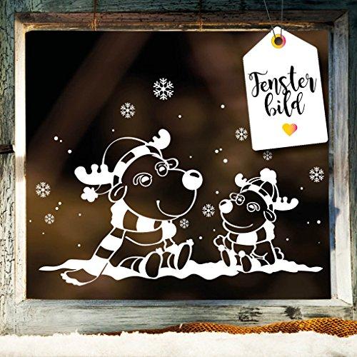 Fensterbild Zwei Elche - Winter Schnee Landschaft / Fenster Dekoration in der Farbe weiß von Wandtattoo-Loft® / Fensteraufkleber / Weihnachtsfensteraufkleber / 2 Größen / / 30 cm hoch x 46 cm breit