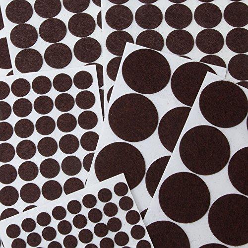 brackit almohadillas de fieltro Jumbo Surtido Pack | 270Pc Antideslizante hoja de círculos & 240cm de fieltro muebles almohadillas de fieltro para suelos de madera, topes para puerta de armario, silla patas, pianos y otros muebles para el hogar