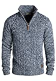 !Solid Pankraz Herren Winter Pullover Strickpullover Troyer Grobstrick mit Zopfstrickmuster und Reißverschluss, Größe:XL, Farbe:Insignia Blue (1991)