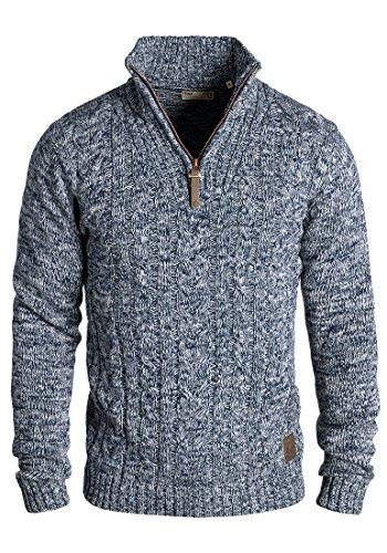 !Solid Pankraz Herren Winter Pullover Strickpullover Troyer Grobstrick mit Zopfstrickmuster und Reißverschluss, Größe:M, Farbe:Insignia Blue (1991)
