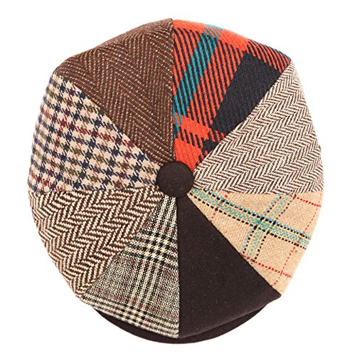 Sakkas NSB1592 - Jay Gatsby 8 Pannello di lana dello strillone Paperboy Snap Hat Brim Cap - Marrone / Arancio -