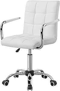 Yaheetech Tabouret Chaise pour Bureau Chambre à roulettes Modern Hauteur réglable, pivotant à 360°, la capacité Max.120kg, en Similicuir avec Dossier