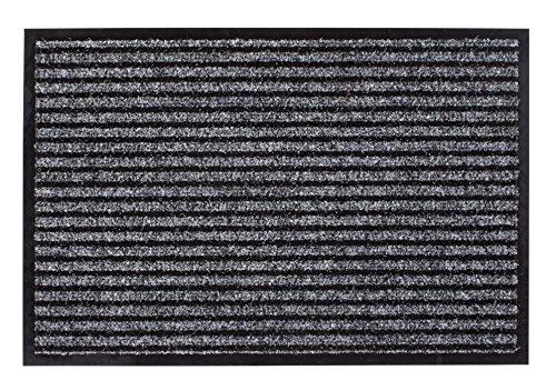 andiamo Schmutzfangmatte Fußabtreter Türmatte Eco-Matte Recyceltes Material Indoor/Outdoor Waschbar bei 30 Grad Wasserabweisend Rutschhemmend Polypropylen 38 x 58 cm in grau
