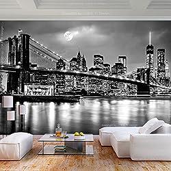 decomonkey | Papier peint intissé New York Ville 350x256 cm Trompe l oeil | Déco Mural Tableaux Muraux Photo Panorama Pont