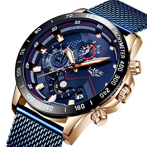 Uhren Herren Blau Edelstahl Mesh Band Chronograph Quarz Uhr Männer Datum Kalender Wasserdicht Multifunktions Armbanduhr