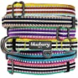 Blueberry Pet Collars 2.5cm L 3M Reflective Multi-colored Stripe Olive and Blue-gray Dog Collar for Large Dogs