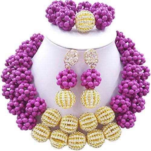 Laanc 2rows Rouge Collier de perles Turquoise et strass Doré du Nigeria africain Bijoux Femme Définit Light Purple and Rhinestone Gold