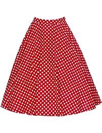 Para Mujer Vintage Floral Swing Full Circle Casual Falda Corto Retro Vestidos Rojo XL