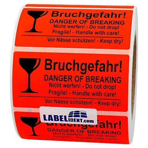 Labelident Warnetiketten (100 x 50 mm) - Bruchgefahr! Danger of Breaking - Nicht werfen! Do not drop - 1000 Versandaufkleber auf 76 mm (3 Zoll) Rolle, Papier leuchtrot, selbstklebend