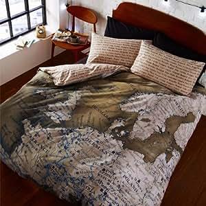 Catherine lansfield - parure de lit housse de couette simple planisphère multicolore 135 x 200 cm + taie d'oreiller 50 x 75 cm