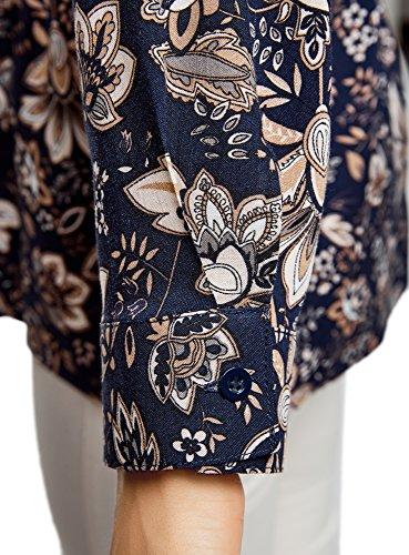 oodji Collection Donna Tunica Stampata in Viscosa con Cintura Blu (7933E)