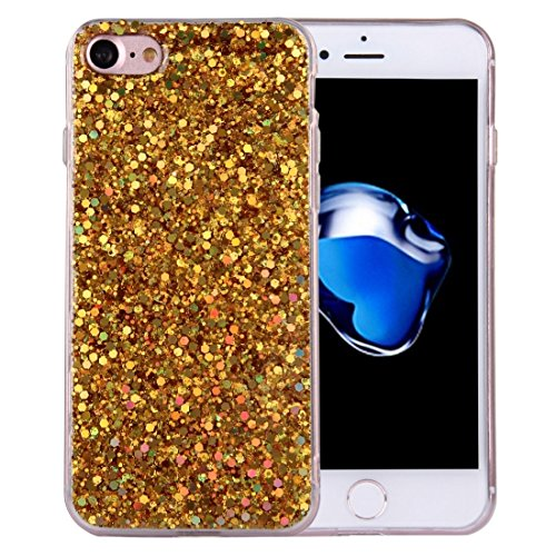 iPhone Case Cover Pour iPhone 7 Twinkling Paillette Plaque Soft TPU Étui de protection avec 43cm Sling ( Color : Gold ) Gold