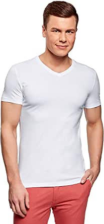 oodji Ultra Men's Basic V-Neck T-Shirt