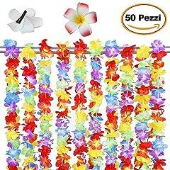 Idea Regalo - Set da 50 pezzi Collane Ghirlande Fiori Hawaiane, 10 pcs Fermaglio per capelli testa fiore, Ghirlande addio al nubilato, 105 x 6.5 cm, Vacanze matrimoni spiagge decorazioni di compleanno