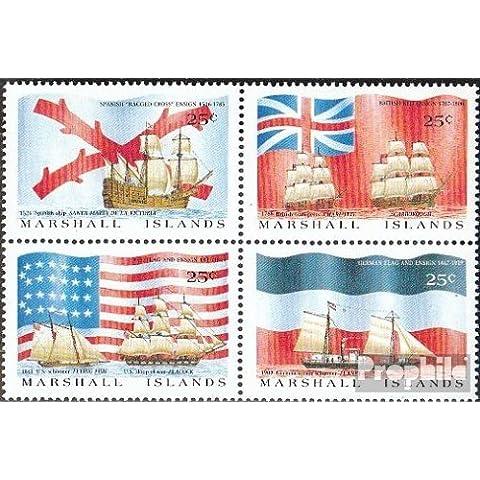 Marshall-islas 185-188 bloque de cuatro (completa.edición.) 1988 Entdeckungsschiffe y banderas (sellos para los coleccionistas)