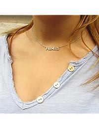 Collar con nombre plata de ley 925, Collar con nombre personalizado para Mujer y Niña, Joyas personalizadas plata 925