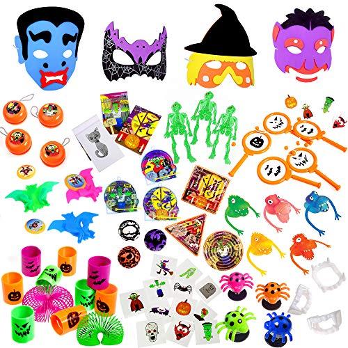 (German Trendseller® 84 er Set - Party - Halloween Spielzeug inkl. Monster Masken ┃ für Kinder ┃ 72 Party Geschenke Mix ┃ 12 x Masken + 72 x Mitgebsel)
