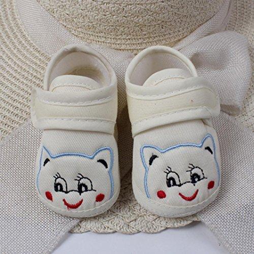 Babyschuhe Longra Baby Mädchen Jungen Soft Sole Cartoon Krippeschuhe Anti-Rutsch Stoff Schuhe Kleinkind Lauflernschuhe(0-18Monate) Beige