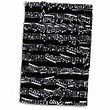 3dRose schwarz Noten, Trendige Sheet Music, Klavier Notation, Modernen Musiker Geschenke Handtuch, weiß, 15x 22