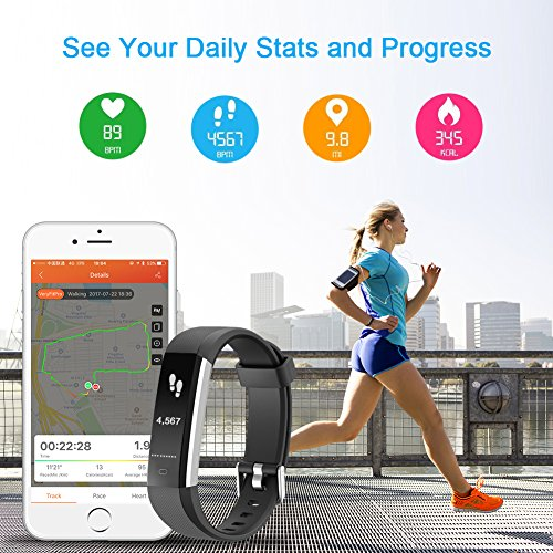 LETSCOM Fitness Tracker with Heart Rate Monitor, Slim Sports Activity  Tracker Watch, Waterproof Pedometer Watch with Sleep Monitor, Step Tracker  for