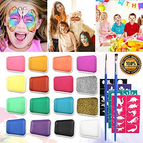 (Emooqi Kinderschminke Set Gesichtsfarbe, 16 Farbe Kinderschminke Farben mit 2 Stück Glitter Pulver +2 Bürsten +40 Schablonen für Kinder Geschenk, Wasserbasiert, Leicht Abnehmbar, Ungiftig, Sicher)