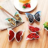 Perfect Butterfly Shape 2 Section Partition Unbreakable Soya Tomato Sauce Multipurpose Seasoning Dish Plate Condiment Sauces Dish Snacks Plate Cute Appetizers Dishes Star Shape Butterfly Plate Bowl Cake Display Small Dish For Tomato Sauce spices (2 Pc) By Perfect Pricee TM