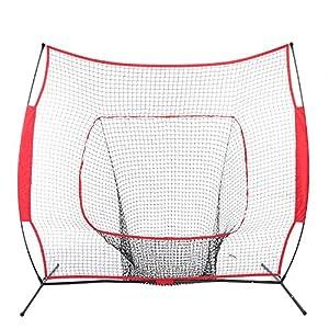 Baseball Netz, Baseball Trainingsnetz mit Sammlung Netz, Rot,7 x 7 ft