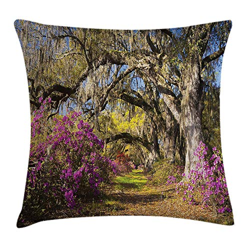 OQUYCZ Americana Landscape Decor Throw Pillow Cushion Cover, Flowers in Charleston South Carolina Azalea Blooms Oak Tree, Decorative Square Accent Pillow Case, 18 X 18 inches, Violet Purple -