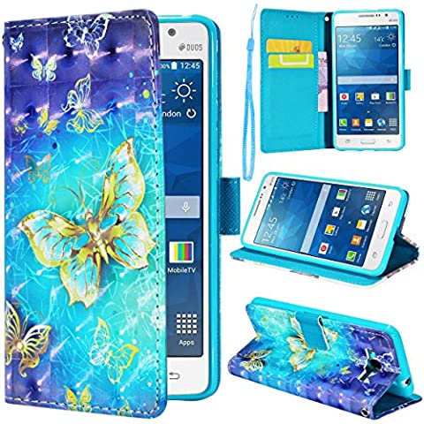 SMARTLEGEND PU Pelle Cover per Samsung Galaxy Grand Prime G530, Alta Qualità Leather Portafoglio Custodia per Carte di Credito, Disegno di Moda Pattern TPU Morbido Cuoio Stand Case Chiusura Ventosa Copertura con Lanyard - Farfalla Oro