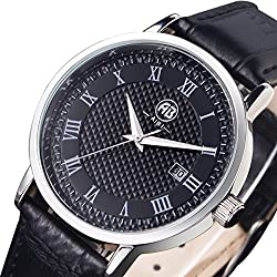 AIBI Waterproof Black Leather Strap Roman Numeral Black Dial Large Face Mens Dress Watch With Date