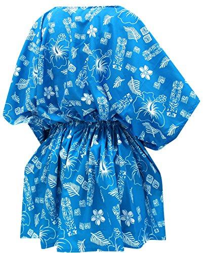 La Leela Kimono lose Bluse verschleiern Badebekleidung Bikini Bademode Badeanzug Top-Frauen Blau