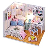 Mobilia Best Deals - REALACC Hoomeda DIY Wood Dollhouse Miniature With LED Mobilia Cover Mini Doll House Room Ragazze Regalo