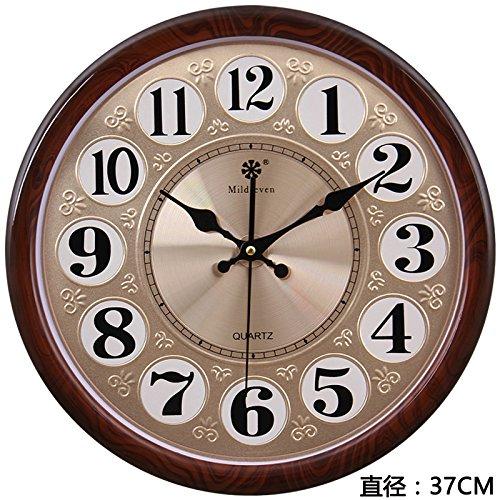 Rundes Büro Wanduhr Wohnzimmer stille Uhr einfache moderne chinesische und amerikanische kreative Quarzuhr hängende Uhrenkunst, 14 Zoll (Durchmesser 35,5 cm), 819 Holzmaserung - Metallaluminiumplatte