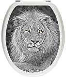 Pixxp/3D _ WCS _ 5164�_ 32x40�maiest�tischer stone lion on Toilet Sticker, WC, Toilet Lid, Gl�zendes Material By Cellapod Cases Black/White, 40�x 32�cm