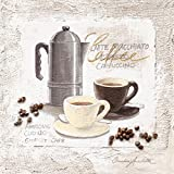 Leinwandbild für die Küche, Espresso Bar, Kaffeetassen, Kaffeekanne, Kaffeebohnen, Gemälde, braun, weiß, 30 x 30 cm von Eurographics