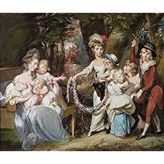 Mrs Justinian Casa Major and Eight of her Children, 1779(Gouache Pastel and Oil on laid paper laid Linen) (150268), Aluminium-Dibond, 100 x 80 cm