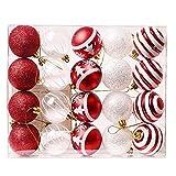 Valery Madelyn 20 Piezas Bolas de Navidad Trendy Rojos y Blancos Indestructible Decoraciones de Bolas de árbol de Navidad, 60 mm, Cuerda pre-Atada