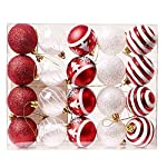 Valery Madelyn Christmas Baubles Trendy Rosso e Bianco infrangibile Xmas Tree Ball Decorazioni, 60mm, String Pre-Tied (20 Pezzi)
