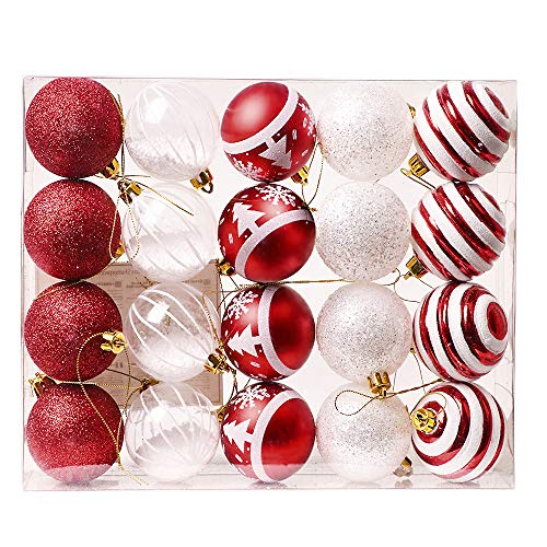 Valery Madelyn Palline di Natale 20 Pezzi 6Cm Plastic Palline di Natale Decorazione Natalizia con Gancio Christmas Tree Decorations for Christmas Decoration Tema Tradizionale Red White Multi Wrapping