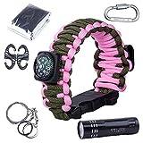 Vogvigo Survival Kit Paracord Armband mit Kompass, Flaschenöffner, Whistle, Feuer-Starter und LED-Taschenlampe, Notfall-Decke, Karabiner, Karten-Messer, Draht-Säge (Rosa)
