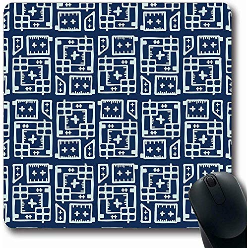 Mousepad,Tile Blueprint Indigo Blue Stitch Lines Abstract Indonesian Contemporary Crosses Folk Futuristic Mouse Mat Anti-Slip Rectangle Gaming Mouse Pad,30X25 Cm
