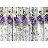 Vlies Fototapete PREMIUM PLUS Wand Foto Tapete Wand Bild Vliestapete - Lavendel Holzbretter Holzwand Holz - no. 1352, Größe:416x254cm Vlies