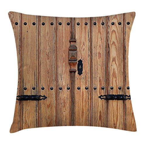 MSGDF Rustic Throw Pillow Cushion Cover, Wooden Door with Iron Style Padlock Gate Exit Enclosed Space of Building Picture, Decorative Square Accent Pillow Case, 18 X 18 Inches, Pale Brown Square Pie Iron