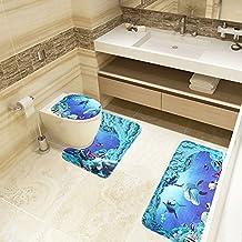 Leisial Flanell 3 Teiliges Badezimmer Teppich Ständer Deckel WC Deckelbezug  Badematte Set