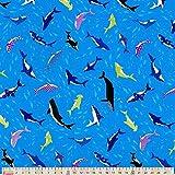 Cosmo Baumwolle, Stoff, Fat Quarter Delfine und Wale, Blau