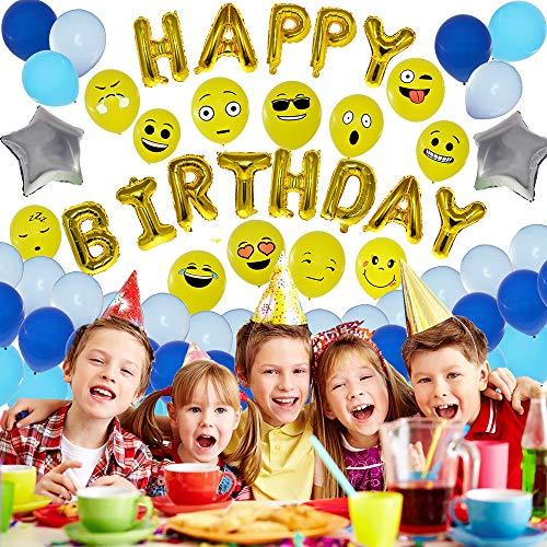 Braci enterprises | 75 kit palloncini compleanno | addobbi e decorazioni feste bambini | gadget regalini fine festa | set azzurro blu bianco emoji emoticon | inviti happy birthday party